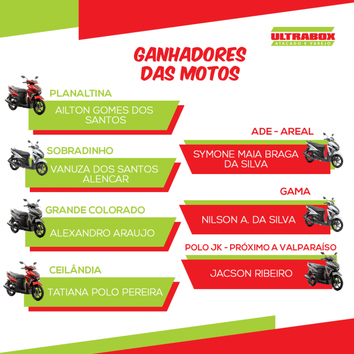 ganhadores motos ULTRA
